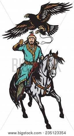 Eagle Hunter On A Horse . Asian Horseman Sitting On A Pony Horseback And Golden Eagle In Flight .iso