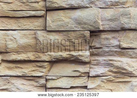 Closeup Borwn Clolor Stone Brick Wall Texture