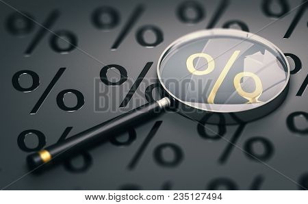 3d Illustration Of A Magnifying Glass Over Black Background With Percentage Symbols And Focus On A G