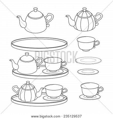 Set Of Outlines Of Teapots. Teatime. Vector Illustration.