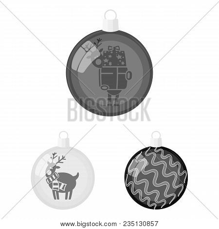 Balls For Decoration Monochrome Icons In Set Collection For Design.christmas Balls Vector Symbol Sto