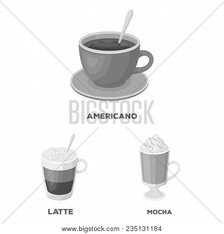 Different Kinds Of Coffee Monochrome Icons In Set Collection For Design. Coffee Drink Vector Symbol