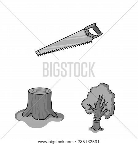 Sawmill And Timber Monochrome Icons In Set Collection For Design. Hardware And Tools Vector Symbol S
