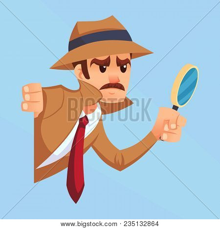 Noir Detective With Magnifying Glass Peeking Out The Corner Cartoon Flat Design Vector Illustration