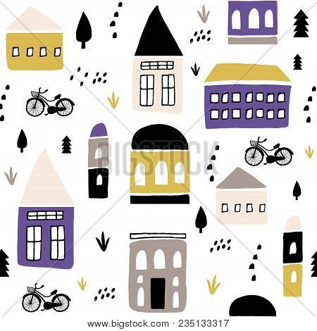 Seamless Childish Pattern With Hand Drawn Houses. Creative Kids City Texture For Fabric, Wrapping, T