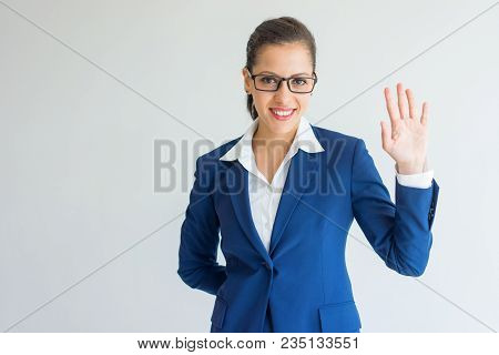 Smiling Confident Young Business Lady Showing Hand At Camera. Cheerful Successful Caucasian Female M
