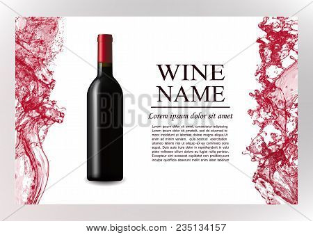 Advertising Magazine Page, Wine Presentation Brochure. Vector Illustration Of A Dark Bottle Of Red W