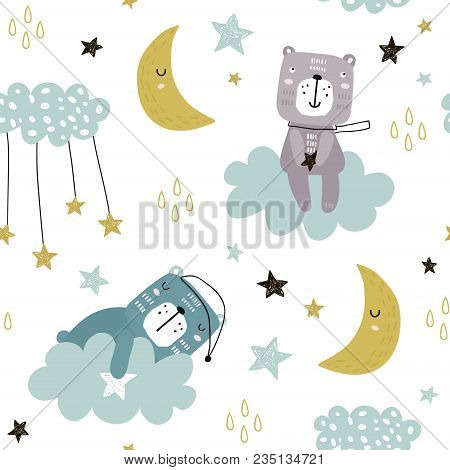 Seamless Childish Pattern With Cute Bears On Clouds, Moon, Stars. Creative Scandinavian Style Kids T