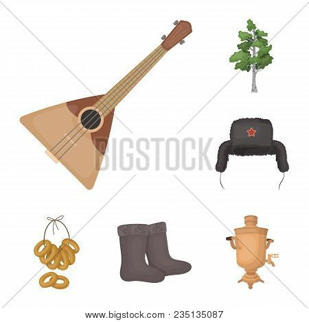 Country Russia, Travel Cartoon Icons In Set Collection For Design. Attractions And Features Vector S