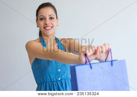 Smiling Attractive Woman Giving Shopping Bag And Looking At Camera. Cheerful Young Woman In Dress Ho