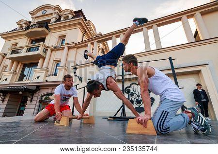Uzhgorod, Ukraine - Jun 10, 2016: Participants Of Outdoor Sports Competition. Workout Championship I