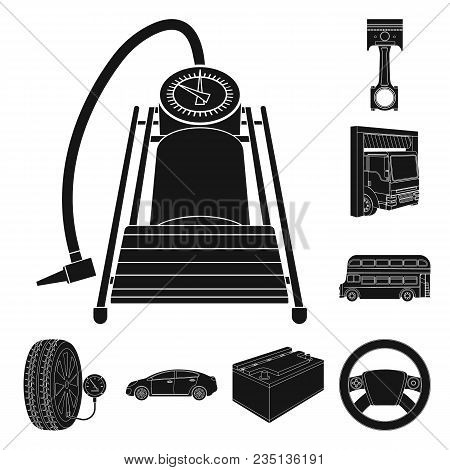 Car, Lift, Pump And Other Equipment Black Icons In Set Collection For Design. Car Maintenance Statio