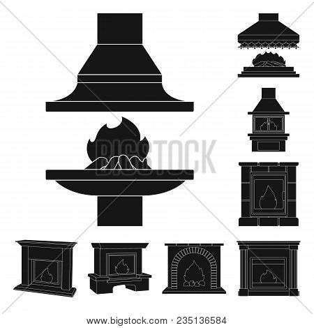 Different Kinds Of Fireplaces Black Icons In Set Collection For Design.fireplaces Construction Vecto