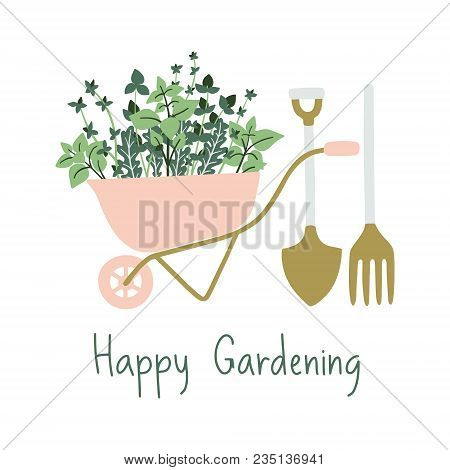 Hand Drawn Gardening Banner. Wheelbarrow, Plants  And Garden Tools In A Cartoon Style. Vector Illust