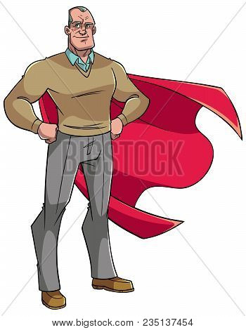 Full Length Illustration Of A Superhero Grandfather Smiling While Posing Proud And Confident With Hi