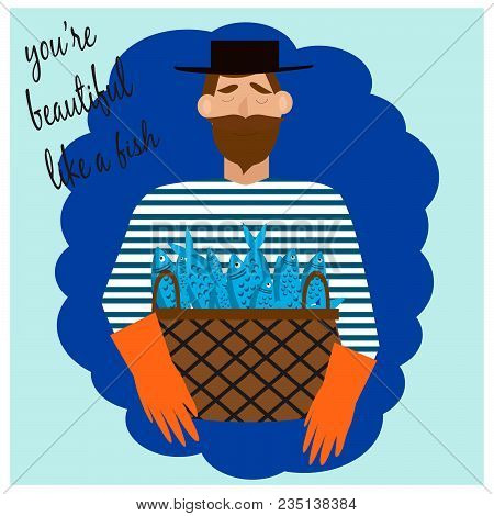 Card With Cute Bearded Man With Fishes