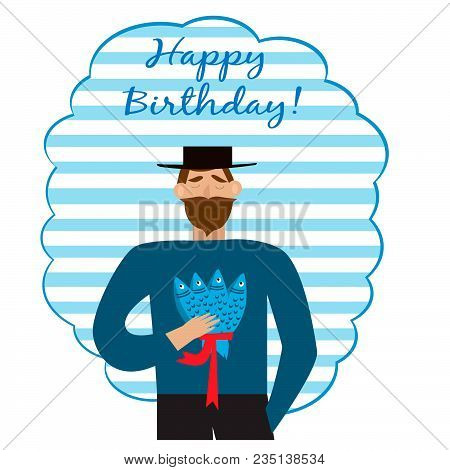 Greeting Birthday Card With Bearded Man With Fishes
