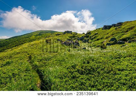 Path Uphill In To The Cloud. Lovely Mountain Landscape In Summer. Tourism And Summer Activities Conc
