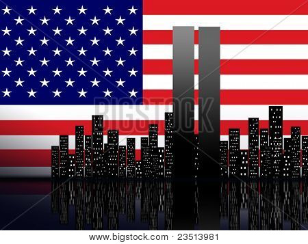 New York silhouette against the background of the American flag