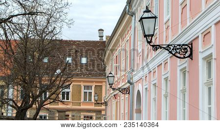 Old Houses With Lantern In Baroque Style