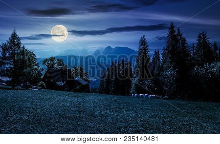 Beautiful Landscape Of Tatra Mountains At Night In Full Moon Light. Location Zakopane Village, Polan
