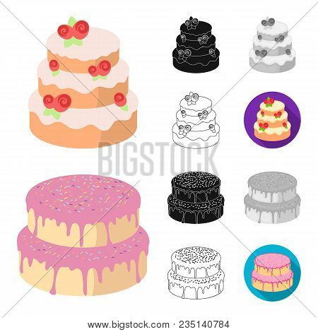 Cake And Dessert Cartoon, Black, Flat, Monochrome, Outline Icons In Set Collection For Design. Holid