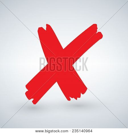 Cross Sign Element. Red Grunge X Icon, Isolated On White Background. Mark Graphic Design. Button For