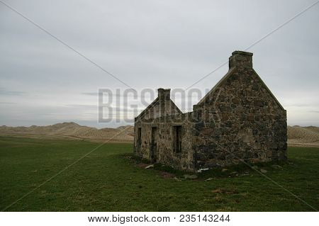 Abandoned coastal cottage at Seaton of Rattray, also known as Botany, Aberdeenshire poster