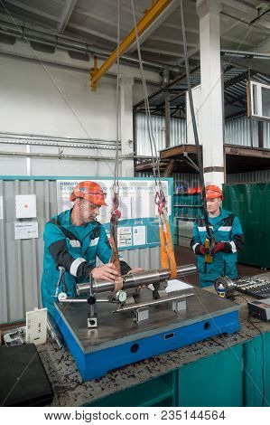 Tobolsk, Russia - July 15. 2016: Sibur Company. Polymer Plant. Mechanics Transfer Detail To Workbenc