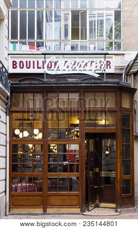 Paris, France-april 07, 2018 : Entrance Of The Bouillon Chartier - Historic Restaurant Founded In A