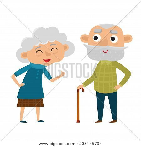 Happy Senior Lady And Gentleman With Silver Hair Standing Together Arm-in-arm. Cartoon Old Age Coupl