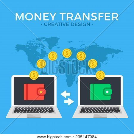 Money Transfer. Two Laptops With Wallets On Screen And Transferred Gold Coins. Send Money Online, Re