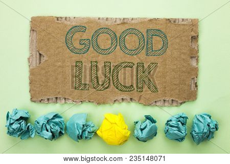 Conceptual Hand Writing Showing Good Luck. Business Photo Text Lucky Greeting Wish Fortune Chance Su