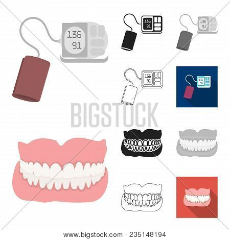 Medicine And Treatment Cartoon, Black, Flat, Monochrome, Outline Icons In Set Collection For Design.