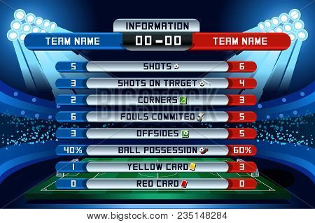 Football Scoreboard Global Stats Statistics Strategy. Russia Soccer World Cup Background Vector Illu