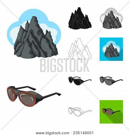 Mountaineering And Climbing Cartoon, Black, Flat, Monochrome, Outline Icons In Set Collection For De