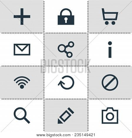 Vector Illustration Of 12 User Icons. Editable Set Of Share, Blocked, Write And Other Icon Elements.
