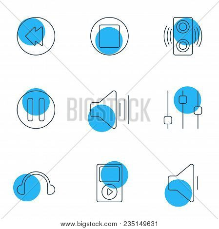 Vector Illustration Of 9 Melody Icons Line Style. Editable Set Of Headphones, Player, Equalizer And