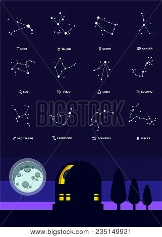 Observatory In The Night Sky, The Moon And The Constellations Of The Zodiac. Vector Illustration Eps