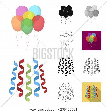 Party, Entertainment Cartoon, Black, Flat, Monochrome, Outline Icons In Set Collection For Design. C