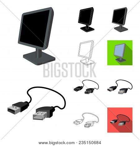 Personal Computer Cartoon, Black, Flat, Monochrome, Outline Icons In Set Collection For Design. Equi