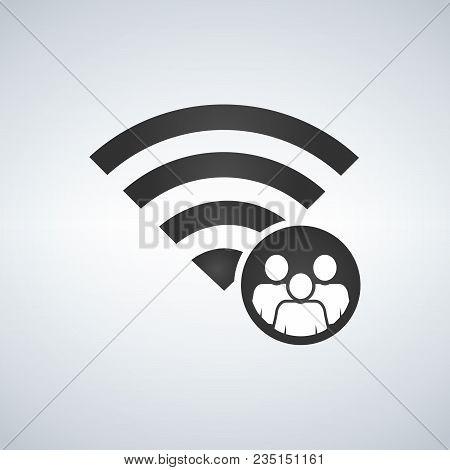 Wifi Connection Signal Icon With Crowd Or Users In The Circle. Vector Illustration Isolated On Moder