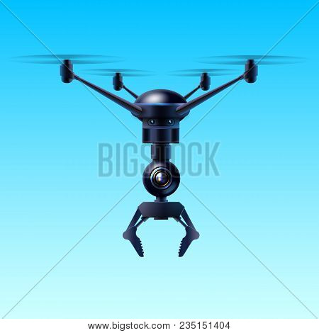 Vector Concept Of Fictional Quadcopter Flying Drone With Claw Isolated On Blue Background