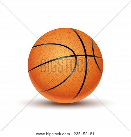 Vector Basketball Ball Isolated On A White Background. Orange Basketball Play Symbol. Sport Icon Act
