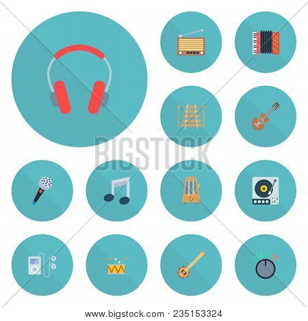 Set Of Studio Icons Flat Style Symbols With Accordion, Retro Tuner, Audio Device And Other Icons For