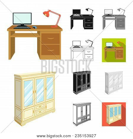 Furniture And Interior Cartoon, Black, Flat, Monochrome, Outline Icons In Set Collection For Design.
