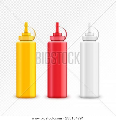 Vector Condiment Ketchup Mayonnaise Mustard. Food Taste Ingredient. Bottle Or Container Red, White A