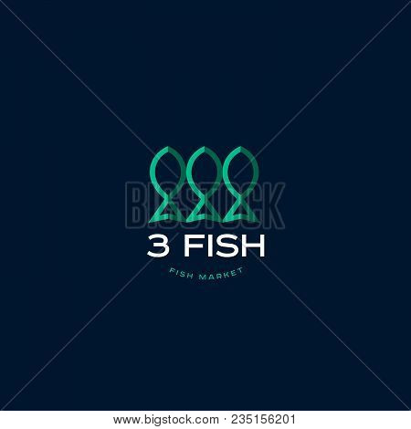 Fish Market Logo. Fish Restaurant Emblem. Stylization Paper Applications Fish On A Dark Background.