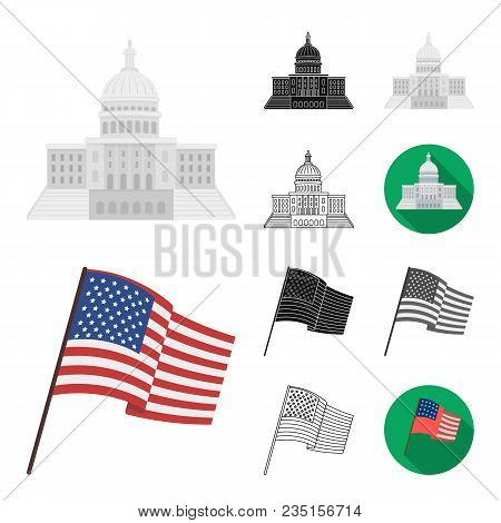 Usa Country Cartoon, Black, Flat, Monochrome, Outline Icons In Set Collection For Design.travel And