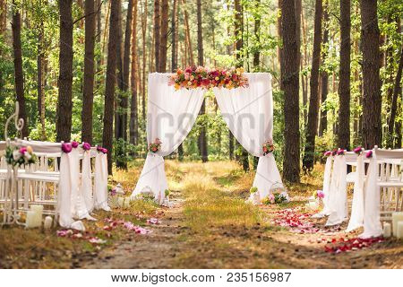 Beautiful Romantic Festive Place Made With Wooden Square And Floral Roses Decorations For Outside We
